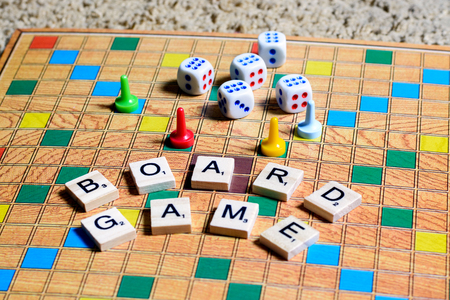 Board games. Home entertainment, games, canvas, cubes, cones.