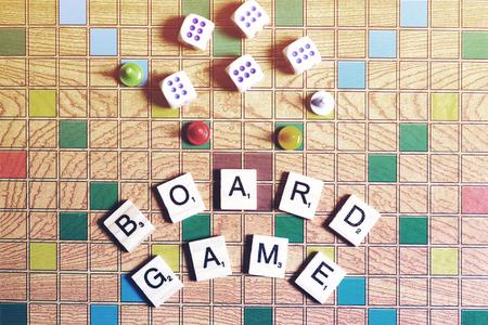 Board games. Home entertainment, games canvas cubes cones