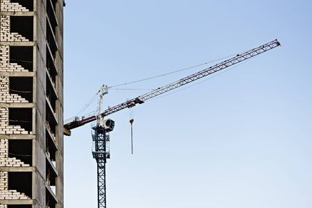 construction of multi-storey buildings with construction crane. construction sites concept