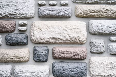stone background and texture of multicolored bricks. wall covering concept Reklamní fotografie