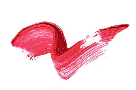 stroke of red liquid lipstick on white background, copy space, cosmetic texture