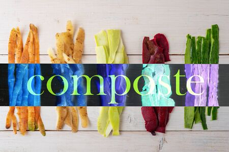 vegetable peels on white wooden background, composting concept, top view, flat lay, recycling of food waste