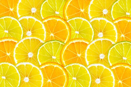 orange lime summer background, flat lay, top view, copy space