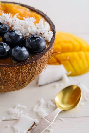 dessert mango sherbet with blueberries, coconut chips in coconut bowl on white background, smoothie bowl concept, vertical Banque d'images