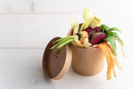 compost concept, vegetable peels, peel in a cardboard biodegradable container on white background, copy space