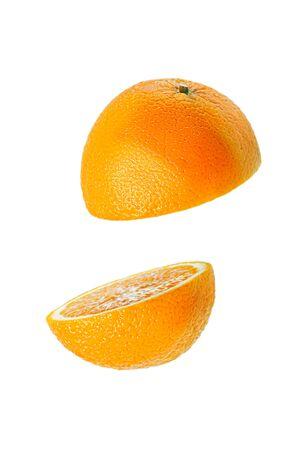 vertical sliced orange on white background with levitation effect, minimal concept Stock Photo