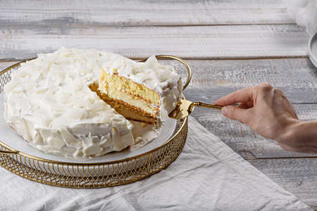 homemade coconut cake, piece of cake on spatula in hand, home cooking concept Archivio Fotografico