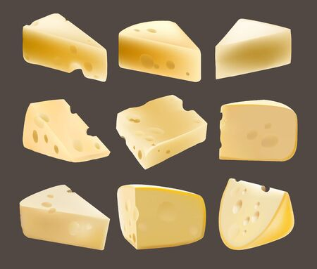 parmesan cheese: Triangular piece of cheese. Dairy products. Realistic vector illustration. Holes. Dutch. The Parmesan. Different types of cheese. Food. Gouda. Healthy food