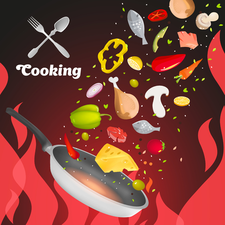 roaster: Cooking fire. Frying pan.Dish roaster. Panbroil. To fry on fire. Illustration