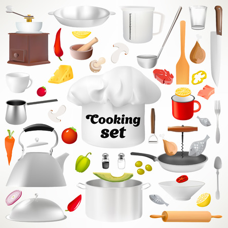 kitchen ware: Set of kitchen utensils. Isolated items. Culinary set. Kitchen ware. Cooks cap. A pan for cooking. A frying pan for frying. A mug for tea. The Turk for cooking of coffee. Tablespoon. Sharp fork.
