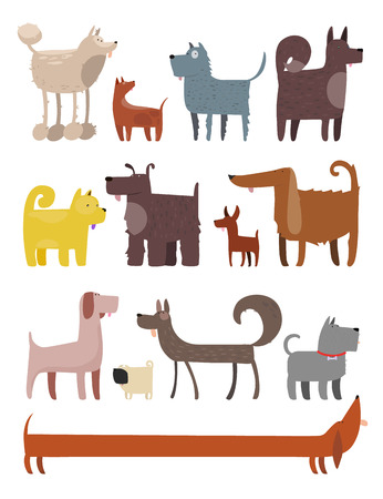 domestic animals: Cartoon Illustration of Different Funny Dogs set Illustration