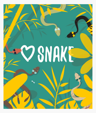 wild nature wood: Love snake in the wood. A reptile on a grass. A poster with the nature. Wild jungle. Vector snake. Tropical foliage.