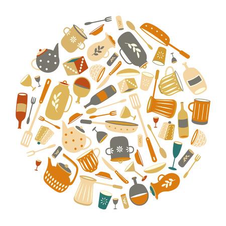 Border round flat ware. Kitchen utensils. Multi-colored poster. Dishware color