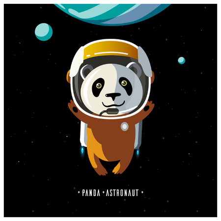 pioneer: White panda astronaut in space suit. the pioneer. adventures in space. Panda in weightlessness