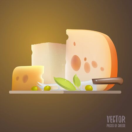 Vector food. Triangular piece of cheese. Dairy products. Realistic vector illustration. Holes. Dutch. The Parmesan. Different types of cheese. Gouda. Healthy food. knife for cutting cheese Illustration