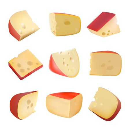 Triangular piece of cheese. Dairy products. Realistic vector illustration. Holes. Dutch. The Parmesan. Different types of cheese. Food. Gouda. Healthy food
