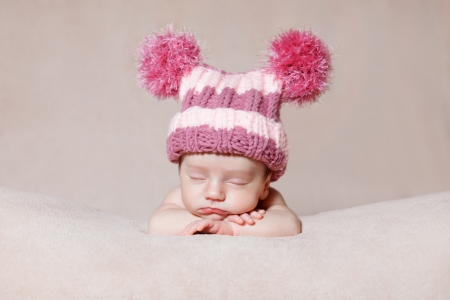 Newborn relaxing, baby sleeping, portrait