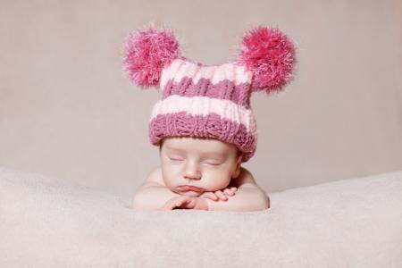 Newborn relaxing, baby sleeping, portrait