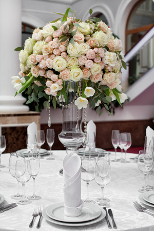Fine table setting with roses