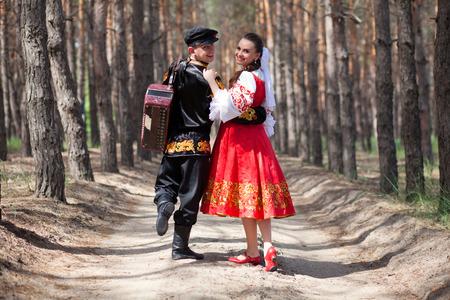 folk dancing: Couple in russian national dress