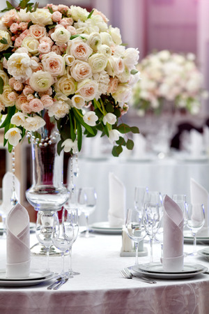 Dinner wedding table setting. Stock Photo