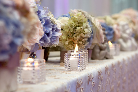wedding table decor: Wedding table setting decorated Stock Photo