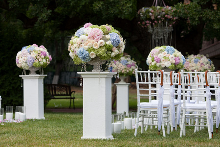 Beautiful wedding set up. Wedding ceremony Stock Photo