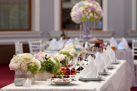 Wedding table setting decorated Stock Photo