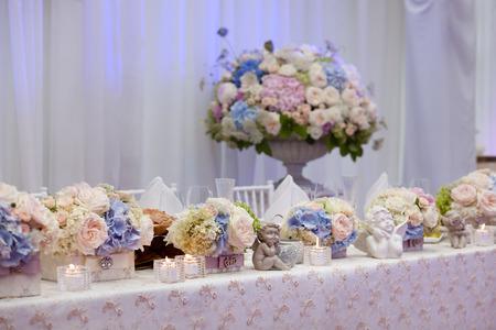 decor: Wedding table setting decorated Stock Photo