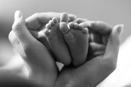 massage bébé: Pieds de bébé en forme de coupe dans les mains des mères Banque d'images