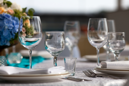 set up: Elegance table set up for wedding in turquoise