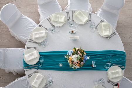 set up: Elegance table set up for wedding in turquoise top view