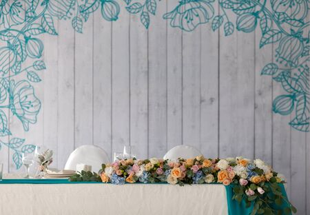wine and dine: Elegance table set up for wedding in turquoise