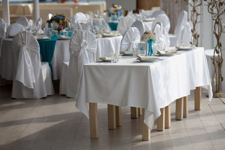 table setting: Elegance table set up for wedding in turquoise