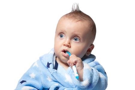 child brushing teeth, isolated on white background Stockfoto