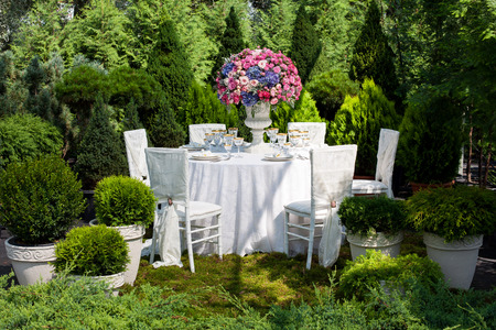Table setting at a luxury wedding reception Stockfoto