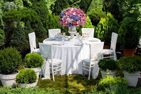 Table setting at a luxury wedding reception Banco de Imagens