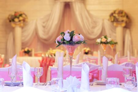 dinner party: Elegance table set up for wedding