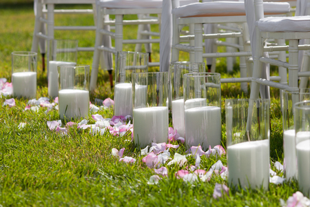 Beautiful wedding set up. Candles for the wedding ceremony