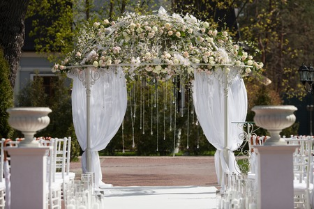 Beautiful arch of flowers for the wedding ceremony