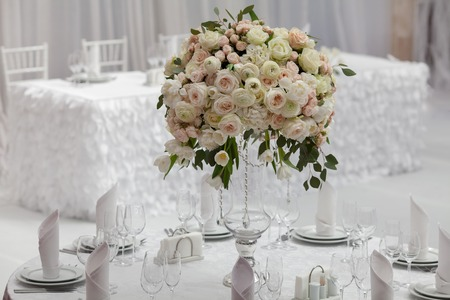 wedding table decor: Table set for an event party or wedding reception