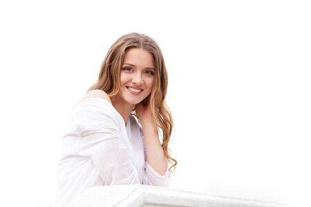 smile face: Beautiful woman face. Perfect toothy smile. Caucasian young girl portrait on white background.