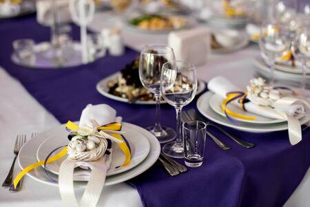 eating utensil: Wine glasses on table with other eating utensil Stock Photo