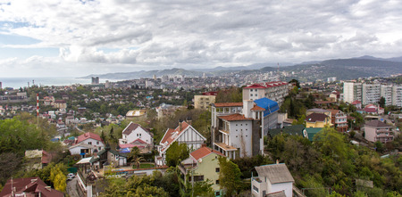 Panorama of Sochi overlooking the mountains and the sea Stock Photo