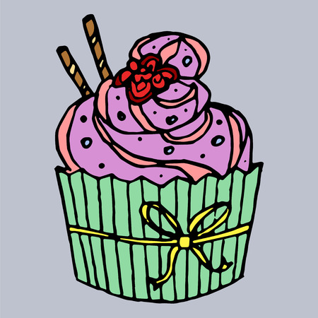 Cute Cupcake Stock Vector - 46397964