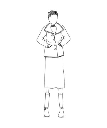 designer clothes: Cute Sketched Hand Drawn Fashion Illustration with a Beautiful Woman Wearing Stylish Designer Clothes Illustration