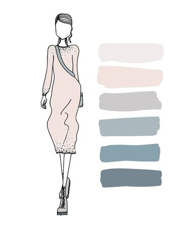 designer clothes: Cute Colorful Hand Drawn Fashion Illustration with a Beautiful Woman Wearing Stylish Designer Clothes
