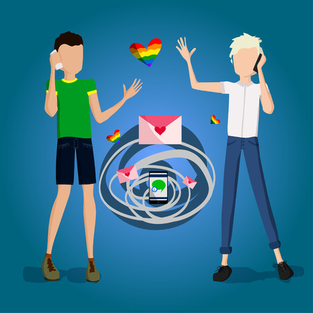 gay couple: Gay Couple Illustration with Two Guys Being in Love and Talking on the Phone, Flat Design