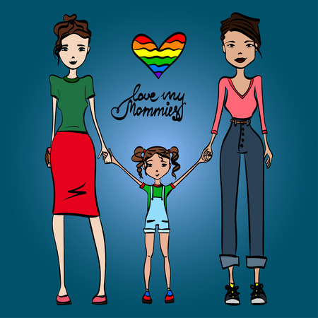 lesbian women: Family Love My Mommies Illustration with Two Lesbian Women in Love, Holding Hands with Their Kid, Colored Sketch Design