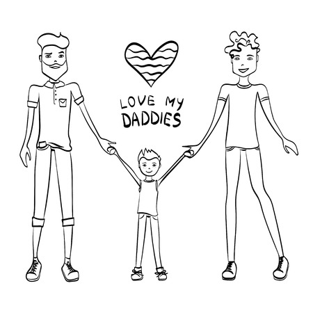 gay family: Gay Family Illustration with Two Guys Being in Love, a Kid and Holding Hands, Sketch